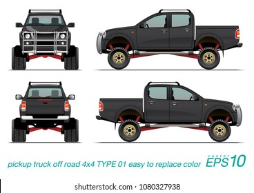 VECTOR EPS10 - pickup truck off road 4x4 template, isolated car on white background,