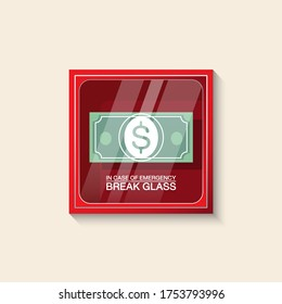VECTOR EPS10 - red emergency box and banknote dollar sign with text in case of emergency break glass on front, isolated on cream background.