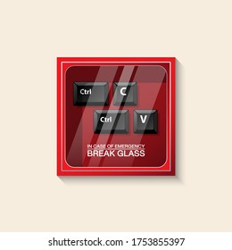 VECTOR EPS10 - red emergency box and keyboard button ctrl,C,V with text in case of emergency break glass on front, isolated on cream background.