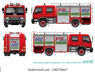 VECTOR EPS10 - red firetruck template, fire engine, desing for equipment truck unit, isolated on white background.