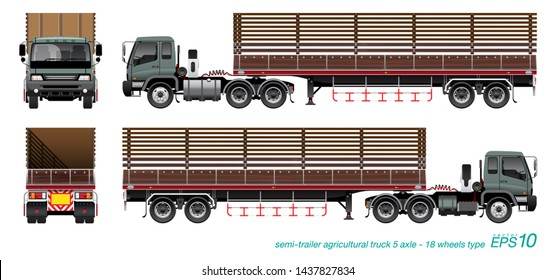VECTOR EPS10 - semi-trailer agricultural truck 5axle 18wheels type, isolated on white background.