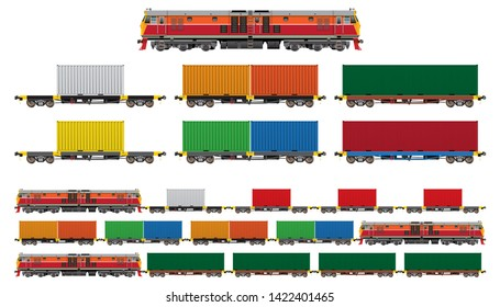 VECTOR EPS10 - set of freight train, diesel-electric locomotive, flatbed car with 20-40 feet container in various color, isolated on white background.