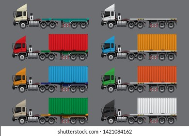 VECTOR EPS10 - set of semi-trailer flatbed truck, 5axle-18wheels type, empty load and full load of 20 feet container in various color, isolate on gray background.