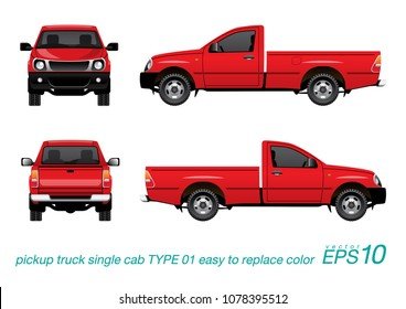 """VECTOR EPS10 - single cab pickup truck template, isolated car on white background,easy to edit color on layer """"body color"""", all elements in the groups on separate layers."""