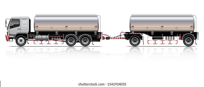 VECTOR EPS10 - tanker trailer truck template, 3+2 axle, isolate on white background.