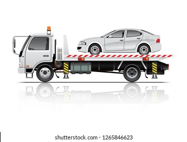 VECTOR EPS10 - tow truck and car, isolated on white background.