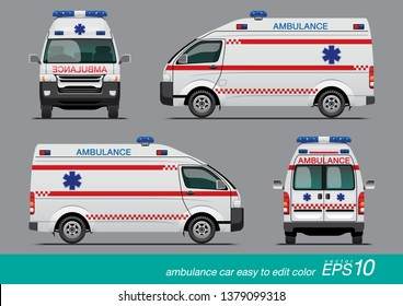 VECTOR EPS10 - white ambulance car template, medical van, isolated on grey background.