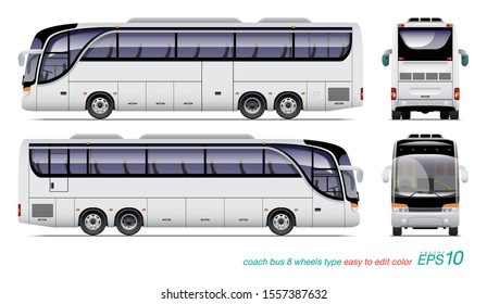 VECTOR EPS10 - white coach bus 8 wheels type, template for car branding and advertising isolated on white background,