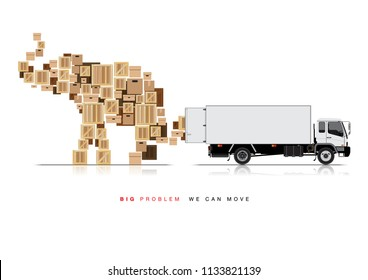 VECTOR EPS10 - white truck open container move boxes, its set in elephant shape.