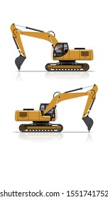 VECTOR EPS10 - yellow excavator side view, isolated on white background.