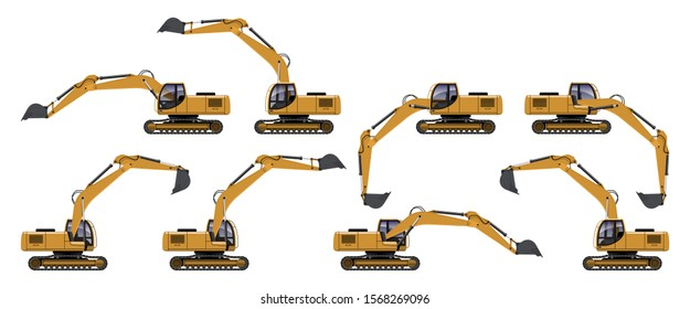 VECTOR EPS10 - yellow excavator side view in different action, isolated on white background.
