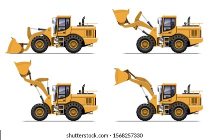 VECTOR EPS10 - yellow wheel loader side view in different action, isolated on white background.