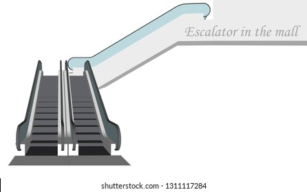 Vector escalator in the mall