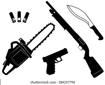 Vector et of gangster criminal weapons and anti zombie apocalypse on white background