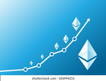 Vector ethereum growth graph on blue background. Ethereum hype concept vector illustration with blank space for text.