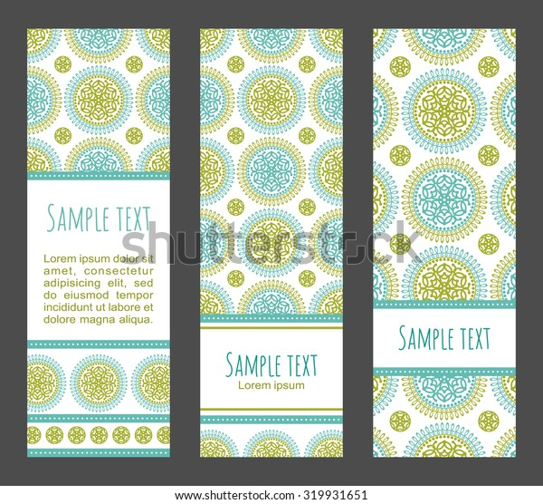 Vector ethnic banners set. Traditional orient floral mandala design
