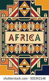 Vector ethnic card design. South African style. Colorful ethnic pattern. Fashion trend. Geometric tribal print for card, poster, t-shirt, banner, brochure and other uses