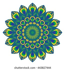 Vector ethnic circular pattern or mandala with elements of peacock and fire-bird tail in east, indian, Brazilian, Mexican and russian style.