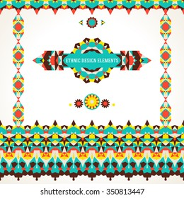 Vector ethnic colorful set of design elements for bohemian decor in native colors with borders, frames. Abstract flowers with stars, triangles. Geometric background with Arabic, Indian, Aztec motif
