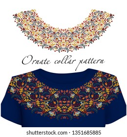 Vector ethnic flowers neck line embroidery graphic designs
