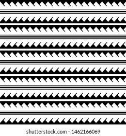 Vector ethnic geometric seamless pattern in maori tattoo style. Horizontal pattern. Simple Scandinavian style. Design for home decor, wrapping paper, fabric, carpet, textile, cover
