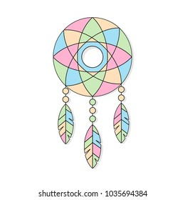 Vector ethnic illustration with American Indians dreamcatcher