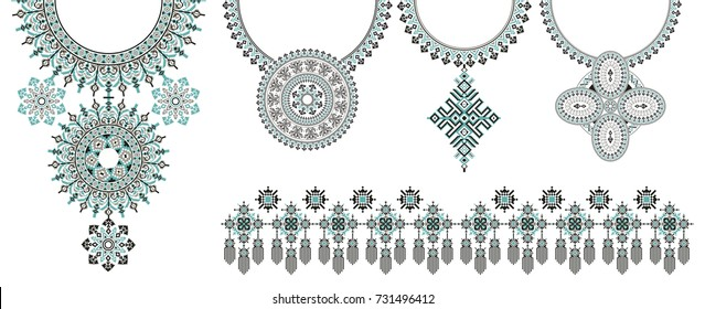 Vector Ethnic necklace Embroidery for fashion women. Pixel tribal patterns for print or web design, jewelry, necklace, print on fabric and apparel.