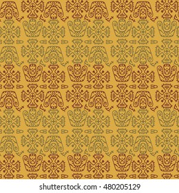 Vector ethnic pattern in style of Inca, Aztec, Indians, Maya. Seamless ancient tribal background.