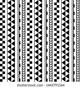 Vector ethnic seamless geometric simple pattern in maori tattoo style. Design for home decor, wrapping paper, fabric, carpet, textile, cover