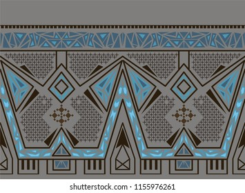 Vector ethnic seamless pattern with american indian traditional ornament in blue and gold colors. Tribal background. Aztec design for fabric. Print of native american art.