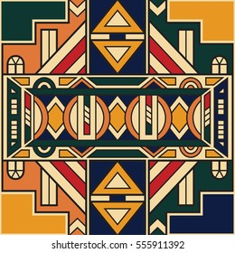 Vector ethnic seamless pattern in the South African style. Geometric tribal print design. Modern african art