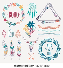 Vector ethnic set with arrows, feathers, crystals, floral frames, borders, dream catcher, bull skull. Modern romantic boho style. Templates for invitations, scrapbooking. Hippie design elements.