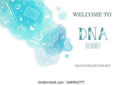 Vector Ethnicity and genealogy  DNA  genetic test  home kit cover, design template, background.  Hand drawn illustrations of medical genome research equipment.