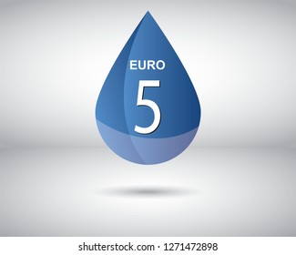 A vector of Euro 5 Emission rating or number for Diesel standard measure of the performance of an engine.
