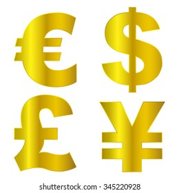 vector euro,  dollar,  pound and   yen ,Currency signs