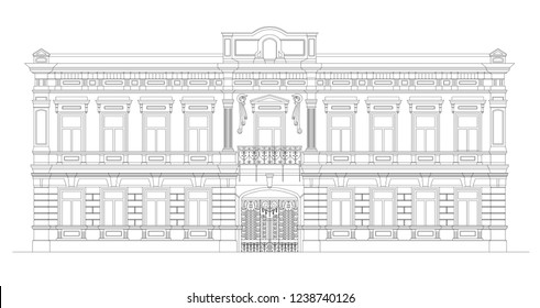 Vector europe building in classicism. Classic architecture style. Drawing of facade of old historical building with beaytiful iron shod gates. Outline.