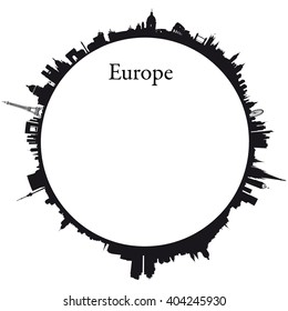Vector Europe Circular background with skylines of europeans capitals