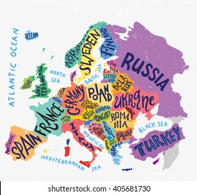 Vector Europe map. Decorative typography poster with all european countries, unique lettering design for print, home decoration, school infographic. Colorful editable vector illustration.