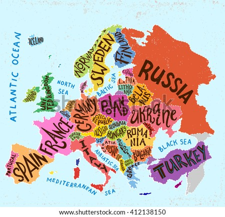 Vector Europe Map Decorative Typography Poster Stock Vector Royalty