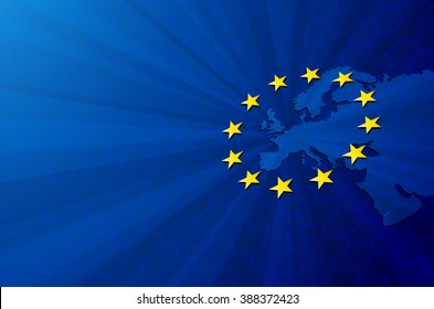 Vector Europe map with European union flag. Blue background and yellow stars. European union star. European union vector background. European Union. Vector blue flag of European union. Europa. Union