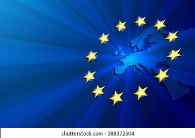 Vector Europe map with European union flag. Blue background and yellow stars. European union star. European union vector background. European Union. Vector blue flag of European union.