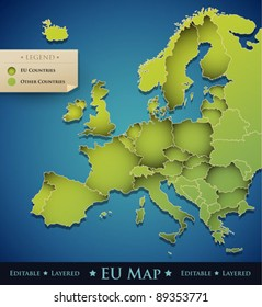 Vector Europe map with European Union (EU) countries - great decoration design element for a professional website, brochure, banner, creative art work, etc.