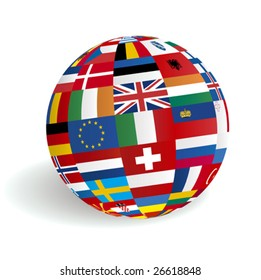 Flags globe images stock photos vectors shutterstock vector european 3d globe flags freerunsca Image collections