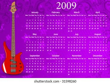 Vector European calendar with guitar, starting from Mondays
