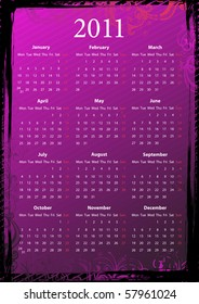 Vector European floral pink and black grungy calendar 2011, starting from Mondays