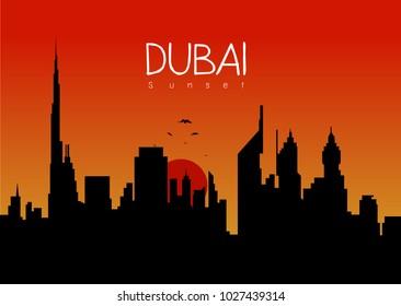 Vector evening building of Dubai city