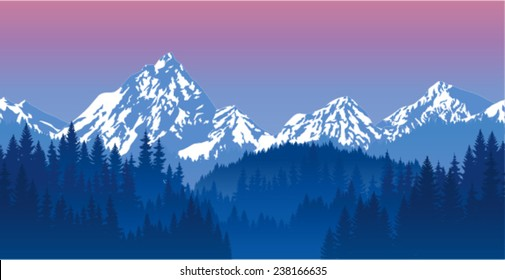 vector evening mountains forest background texture seamless pattern