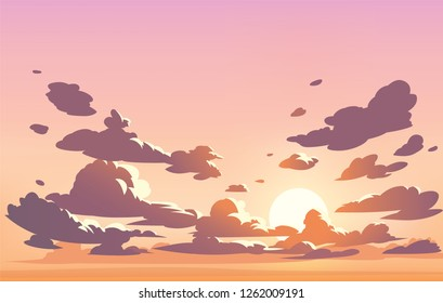 Vector evening sky clouds. Anime clean style. Background design
