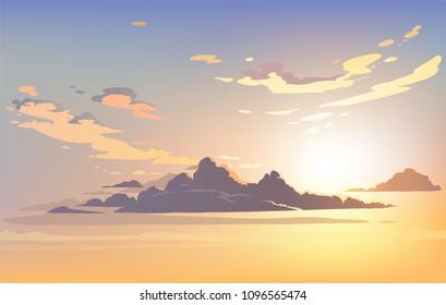 Vector evening sky clouds. Sunset. Background design