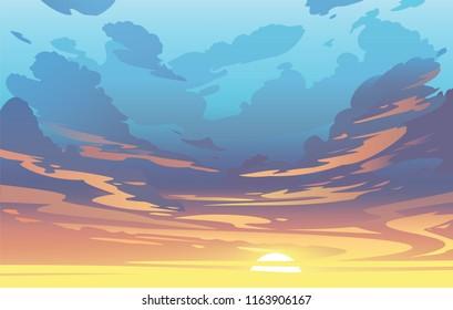 Векторные вечерние облака неба. Закат. Фоновый дизайн
